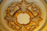 CEILING MEDALLION WITH FAUX FINISH AND GOLD LEAFING